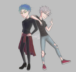 Blue haired and silver haired boyo by sulgao