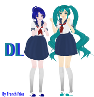 MMD Yandere Simulator - Old Mei and Saki DL by FrenchFriesTsun