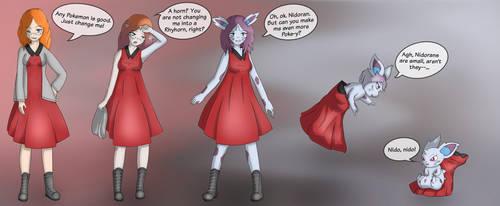 Lizzie into Nidoran (F) - Anthro / Pokemon TF by MizuhoTF