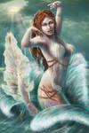 mermaid in waves by RomanticFae
