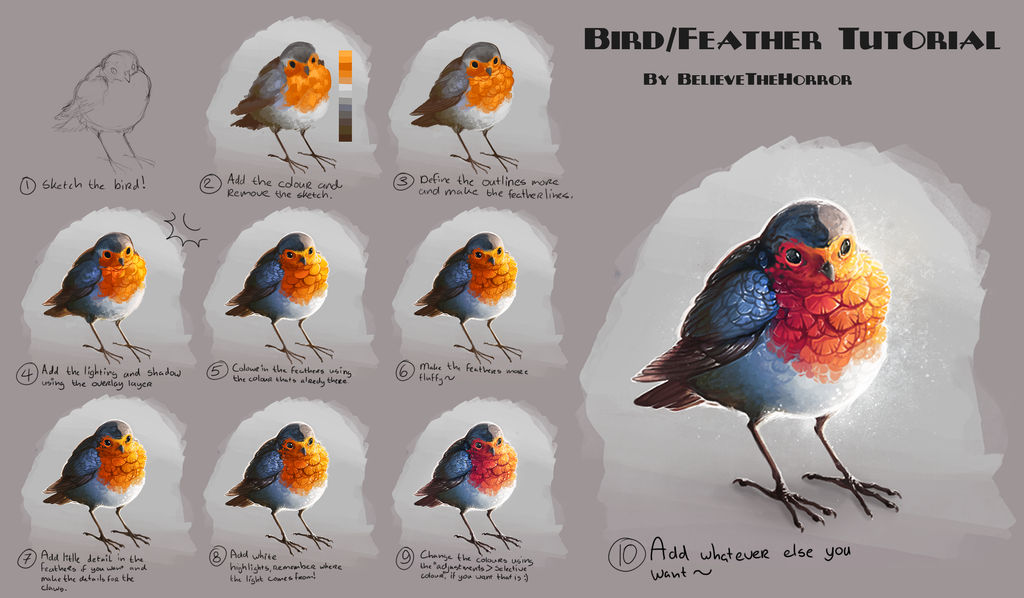 Feather/Bird Tutorial by BelieveTheHorror