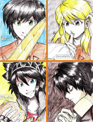 Percy Annabeth Thalia Nico by mikkusushi