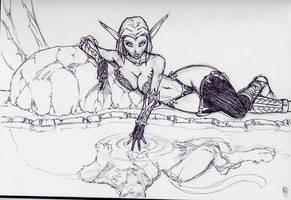 Night Elf druid sketch by Bradwells
