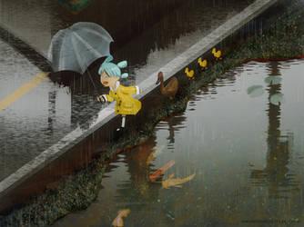 Yotsuba in the rain by kowsk