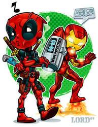 Lil Deadpool 'n' Shellhead by lordmesa