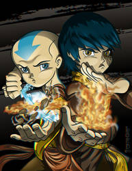 Ang and Zuko 3D by lordmesa