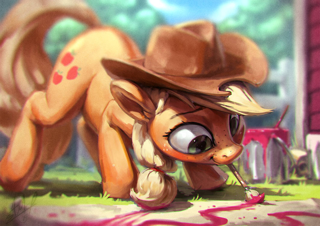 applejack_painting_paint_by_assasinmonke