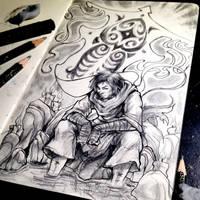 Daily Sketch #3 Avatar Wan by MarcusThomas