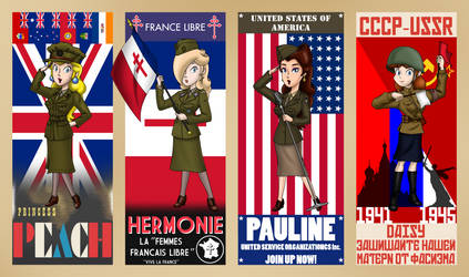 World War II Allied Mario Girls by FamousMari5
