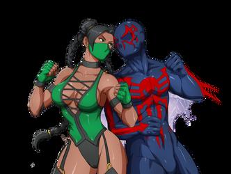 MK x Marvel - Jade vs Miguel O Hara aka Spiderman by IDBjoshm