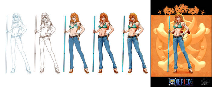 'One Piece cards : Nami' step by step by Lily-Fu
