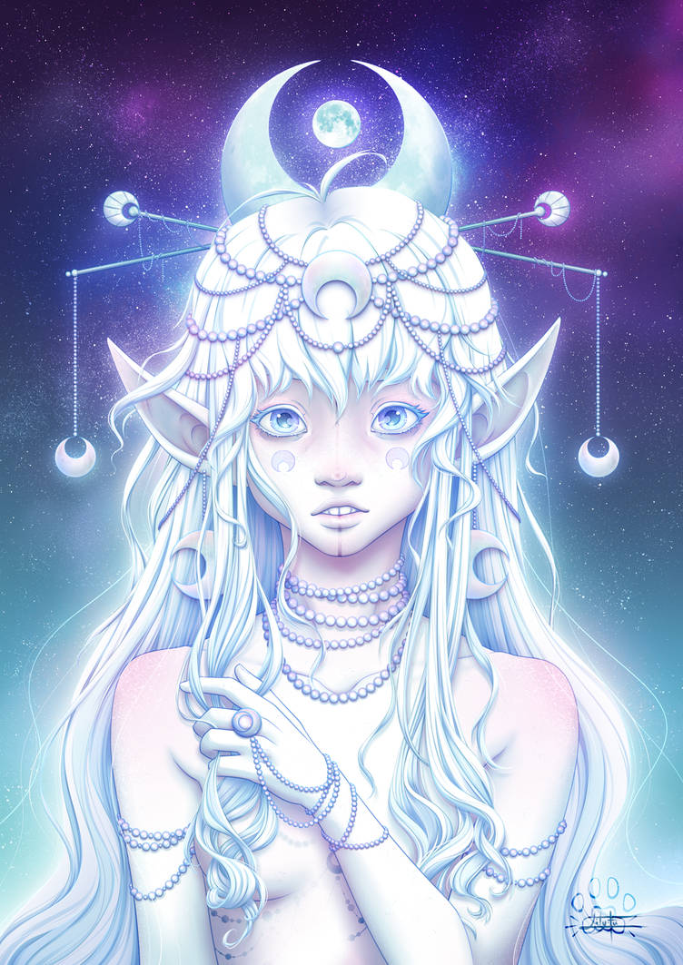 Astral Girls : Moon by Lily-Fu