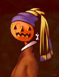The pumpkin with the bone earring by Blacklottus