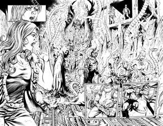 Guinevere and the Divinity Factory 1 pg 20-21 inks by mechangel2002