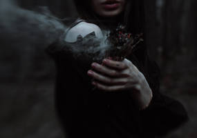 In forest of sorrows roams pale barefoot Autumn by NatalieVing