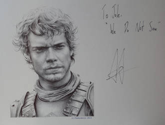 Alfie Allen - signed (ballpointpen) Theon Greyjoy by signedportraits