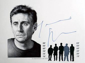 Gabriel Byrne - signed portrait,  (ballpoint pen) by signedportraits