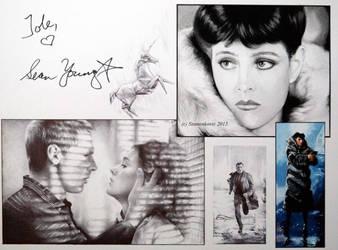 Sean Young signedportraits (Gouache+ballpointpen) by signedportraits