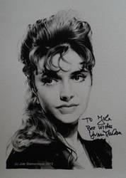 Yvonne Monlaur (gouache on paper) -signed portrait by signedportraits