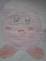 Kirby saying [Hi] (drawn by Hand) by TheKirbyGirl