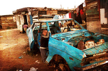 Township Boy and Car by shwizle