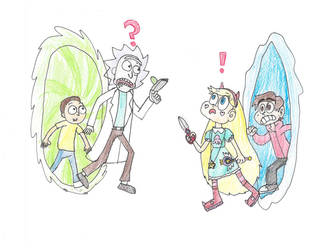 Rick and Morty meet Star and Marco by ShrekItRalph