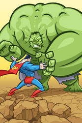 Superman vs. Hulk by andrewchandler80