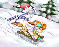 YCH For AmcthystPenguin - Sledding by AdaKola