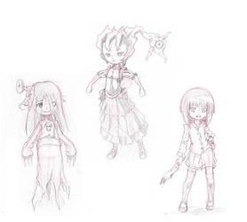 3 Cute Monsters - Scribble by MikaInk