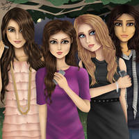 Troian, Lucy, Ashley and Shay (Commission) by FlyingPings