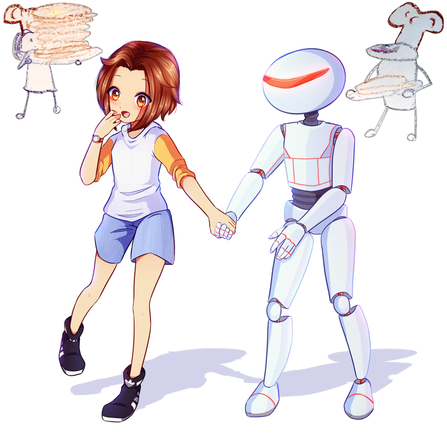 David Stamm (Girl and Robot) Commission by FlyingPings