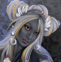 Drow Priestess detail by CarrieBest