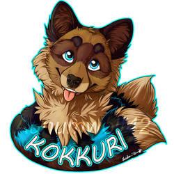 Kokkuri badge [commission] by Aunumwolf42