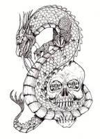 Chinese Dragon And Skull by tjiggotjurring