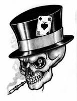 Tattoo Design: Gambling Skull by tjiggotjurring