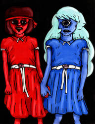 Ruby and Sapphire by charcoalman