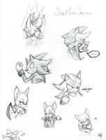 Shadow and Rouge sketches by rouge11
