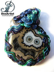 Cookie Monster Wire Wrapped Druzy Agate Pendant by DeeArtist321