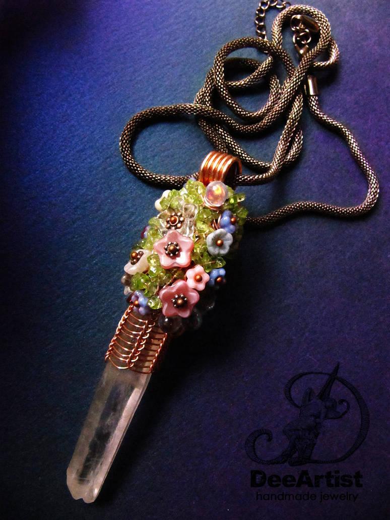 Flower Power Quartz Crystal Pendulum by DeeArtist321