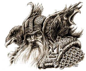 Odin, Hugin and Munin by vikingmyke