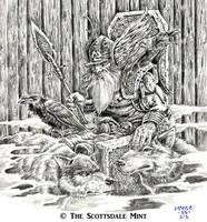 Odin on Hlidskjalf by vikingmyke