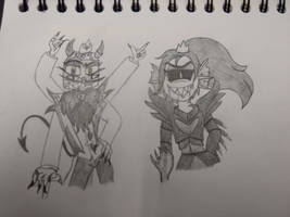 Undyne and King Dice sketch by PaigeysSims