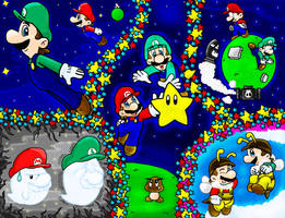 Super Mario BROS galaxy by Nintendrawer