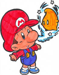 baby mario and a luma by Nintendrawer