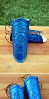 Blue Celtic Emblem Bracers by OrangeMoose