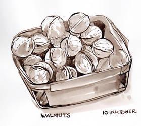 Inktober 10 Walnuts by Leochi
