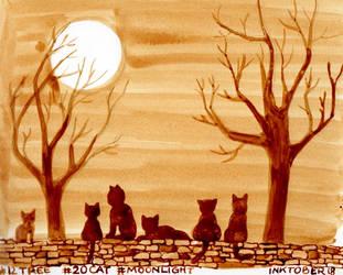 Inktober Trees Cats Moonshine by Leochi