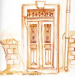 Inktober 22 Old Door by Leochi