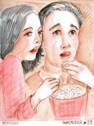 Inktober 23 Popcorn by Leochi
