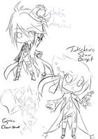 chibi sketches in progress by Takahiro-Sonsaku